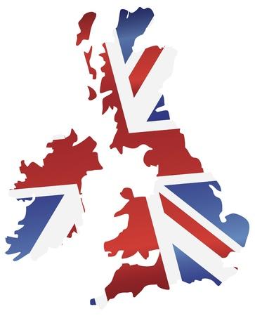 bandera de gran bretaña: Reino Unido Reino Unido Bandera de Union Jack en la ilustración Silueta Mapa Vectores
