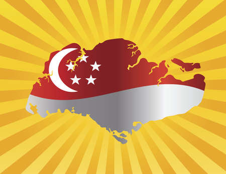 Singapore Flag in Country Map Silhouette on Sun Rays Background Illustration