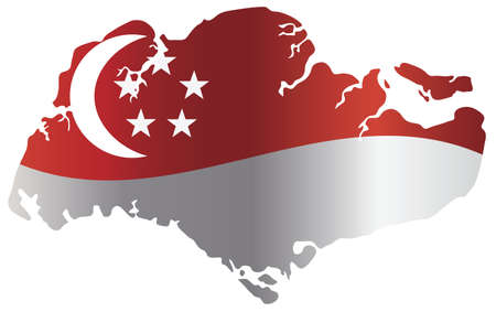 singapore: Singapore Flag in Country Map Silhouette Isolated on White Background Illustration