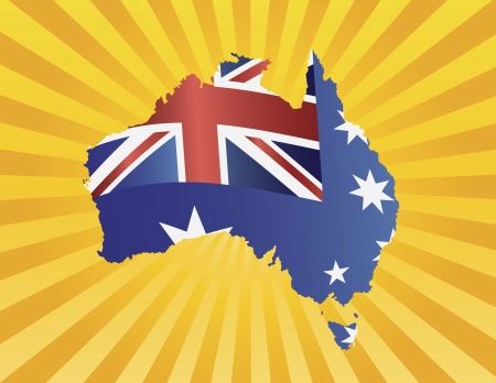 Australia New South Wales Flag in Country Map Silhouette on Sun Rays Background Illustration
