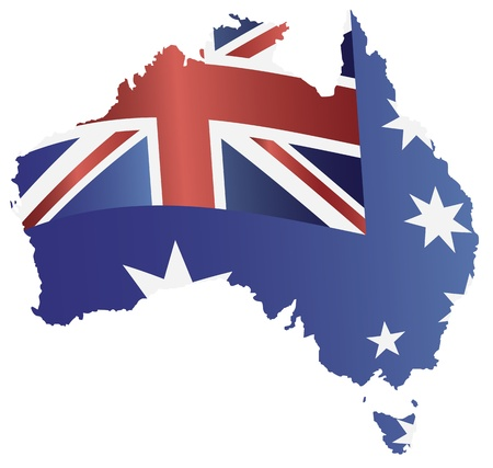 flag australia: Australia New South Wales Flag in Country Map Silhouette Isolated on White Background Illustration