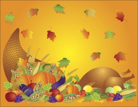추수 감사절은 수확 풍요의 뿔에게 가을 일러스트