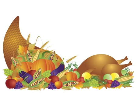 apples basket: Thanksgiving Day Fall Harvest Cornucopia Illustration