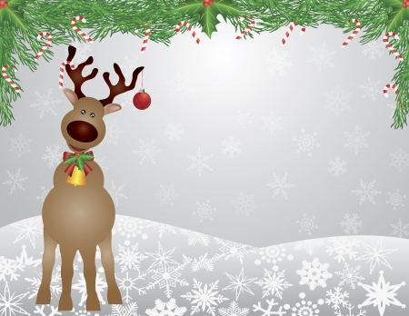 Santa Reindeer with Bow Holly Christmas Ornament