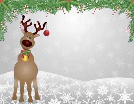 Santa Reindeer with Bow Holly Christmas Ornament