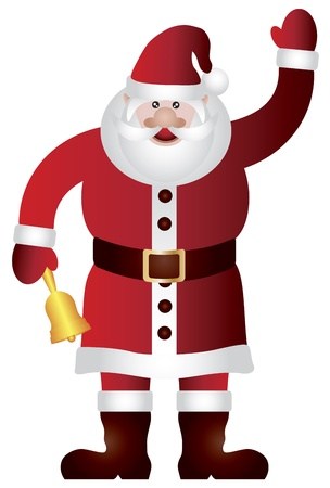 Santa Claus Standing Waving and Ringing Gold Bell Isolated on White Background Illustration Stock Vector - 15845097