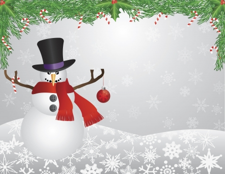 Snowman with Scarf Top Hat Christmas Ornament Stock Vector - 15845103