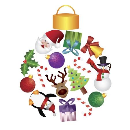 pinguinos navidenos: Árbol de Navidad Adornos Collage con Santa del reno del muñeco de nieve del pingüino caramelo acebo y bastón Ilustración Presents Vectores