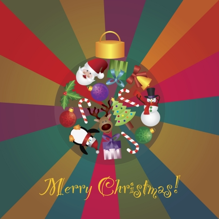 Christmas Tree Ornaments Collage with Santa Reindeer Penguin Snowman Candy Cane Holly and Presents on Colorful Rays Background Illustration