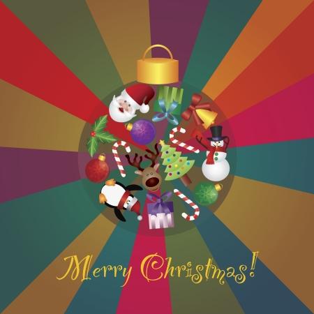 pinguinos navidenos: �rbol de Navidad Adornos Collage con Santa del reno del mu�eco de nieve del ping�ino caramelo acebo y bast�n Presentes en la ilustraci�n colorida del fondo Rays