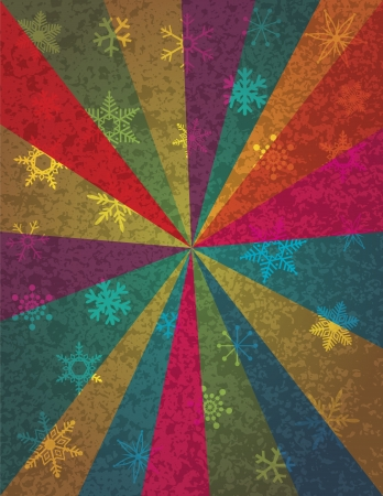 season: Christmas Snowflakes and Colorful Rays on Texture Background Illustration