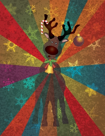 christmas reindeer: Christmas Reindeer with Bells Candy Cane Tree Ornament on Snowflakes and Colorful Rays Texture Background Illustration