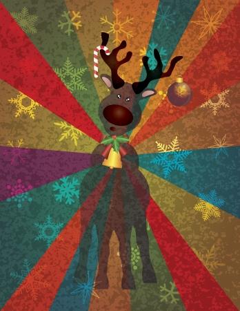 reno de navidad: Reno de la Navidad con el ornamento del caramelo Bells Tree Cane en copos de nieve y del colorido de la textura del fondo Rays