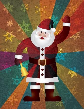 クリスマス サンタ クロース鳴っているベルと雪とカラフルな光線テクスチャに手を振る背景イラスト  イラスト・ベクター素材