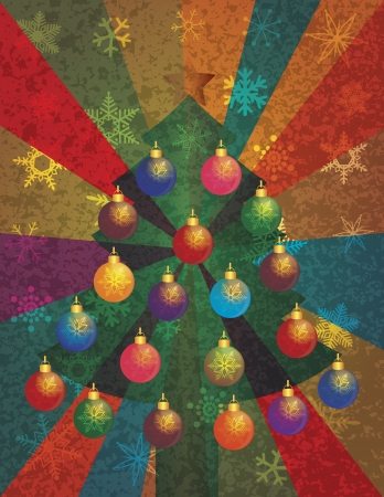 event party festive: Christmas Tree with Colorful Ornaments and Star Tree Topper on Snowflakes and Colorful Rays Texture Background Illustration