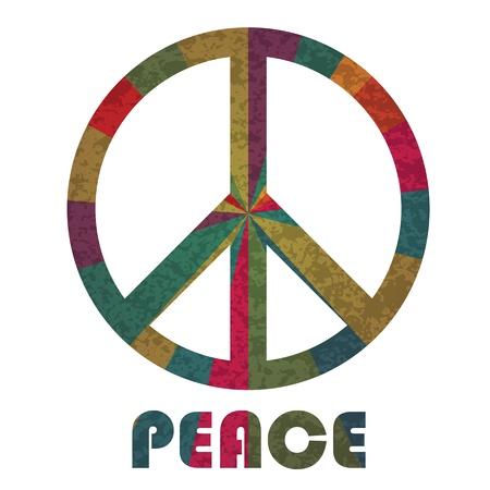 Peace Symbol und Text Silhouette mit Strahlen Muster auf weißem Hintergrund Illustration Isoliert Standard-Bild - 15940103