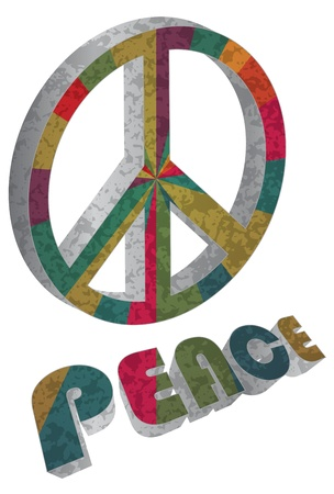 Retro Colorful Peace Symbol and Text Isolated on White Background Illustration
