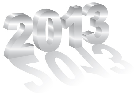 2013 Happy New Year 3D Numbers with Long Shadows Isolated on White Background Stock Vector - 15940099