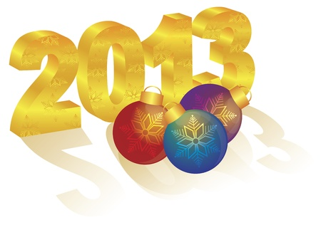2013 Happy New Year 3D Gold Numbers and Colorful Ornaments with Long Shadows Isolated on White Background Stock Vector - 16008370