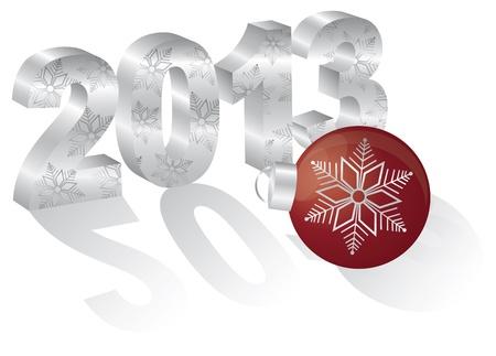 2013 Gelukkig Nieuwjaar 3D Cijfers en Rode Ornament met lange schaduwen geïsoleerd op witte achtergrond