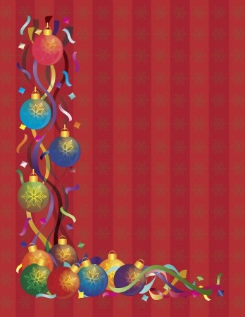 party background: Christmas Tree Ornaments with Colorful Ribbons and Confetti Border on Red Snowflakes Pattern Background Illustration Illustration