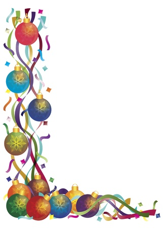 stationery border: Christmas Tree Ornaments with Colorful Ribbons and Confetti Border Illustration