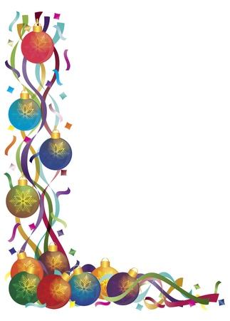 Décorations d'arbre de Noël avec des rubans colorés et des frontières Illustration Confetti Banque d'images - 16008369