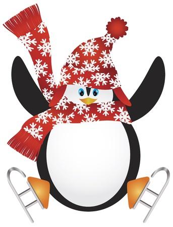 pinguinos navidenos: Ping�ino de la Navidad con el sombrero de Santa y patinaje sobre hielo Bufanda Hacer la Ilustraci�n Salto de Split