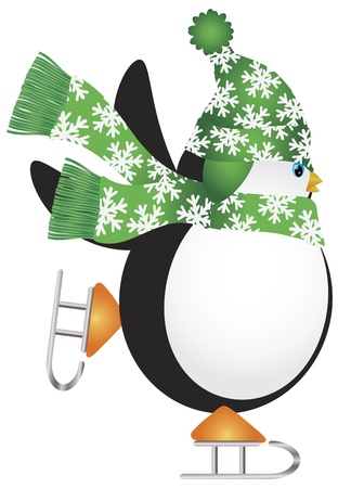 Christmas Penguin with Green Hat and Scarf Ice Skating Illustration Vector
