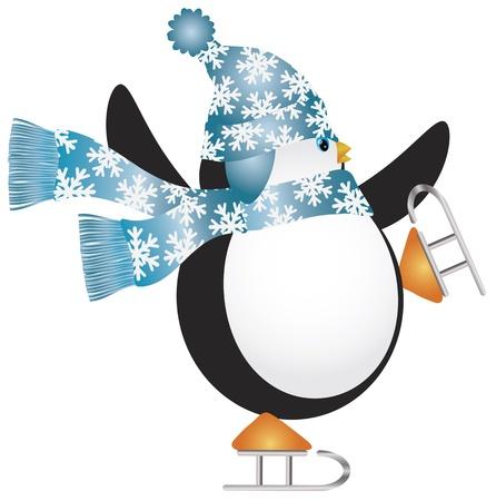 pinguinos navidenos: Pingüino de la Navidad con el sombrero azul y bufanda Ilustración de patinaje sobre hielo
