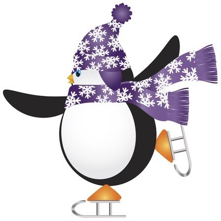pinguinos navidenos: Pingüino de la Navidad con el sombrero de la bufanda púrpura y la Ilustración de patinaje sobre hielo Vectores
