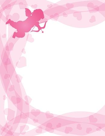 Amor Día de San Valentín Cupido con arco y flecha en la silueta Corazones y remolinos del fondo frontera Ilustración de vector