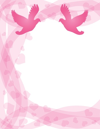 lovebirds: Wedding Pair of Doves Silhouette on Hearts and Swirls Border Background Illustration