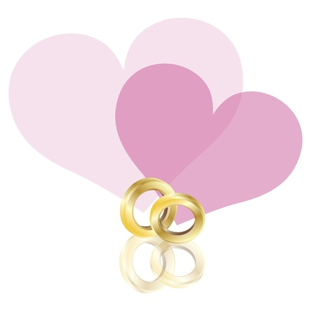 Wedding Rings Gold Band with Couple Pink Hearts Isolated on White Background Illustration Vector
