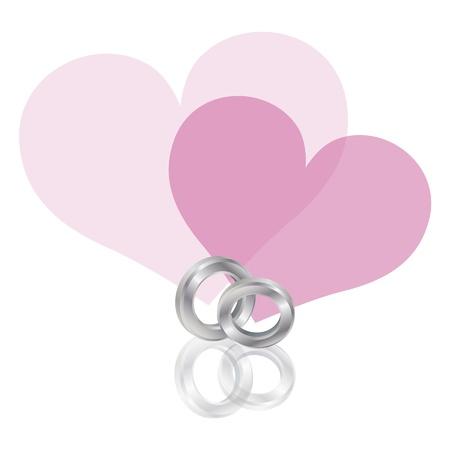Band Platinum Wedding Rings avec des coeurs couple rose isolé sur fond blanc Illustration Banque d'images - 16008400