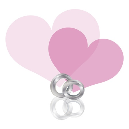 Wedding Rings Platinum Band with Couple Pink Hearts Isolated on White Background Illustration