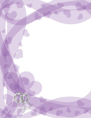 Wedding Rings Platinum Band on Purple Swirls Border with Flying Hearts Border Background