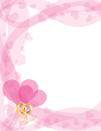 pink wedding: Wedding Rings Gold Band on Swirls Border with Flying Hearts Border Background