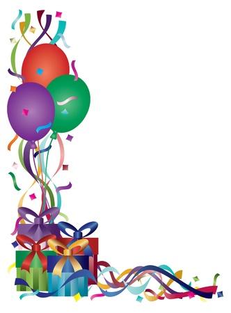 globos de cumplea�os: Regalos de cumplea�os con cintas de colores y confeti del fondo frontera