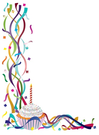 Birthday Cupcake with Colorful Ribbons and Confetti Border Background Illustration Stock Vector - 16008406