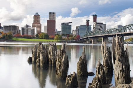 eastbank: Portland Oregon Downtown City Skyline from the Waterfront of Willamette River in Autumn