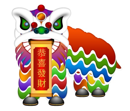new years day: Chinese Lion Dance Colorful Ornate Head and Body Illustration and Scroll Wishing Fortune and Happiness Text  Isolated on White Background