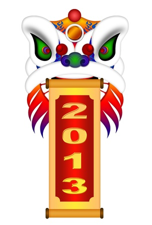 Chinese Lion Dance Colorful Ornate Head and Scroll with New Year 2013 Numerals Illustration Isolated on White Background illustration