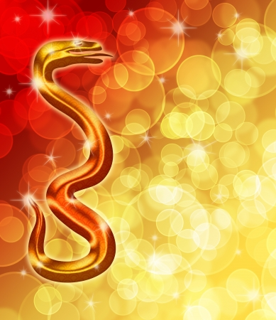 2013 Happy Chinese New Year Golden Snake with Blurred Bokeh Background Illustration Stock Photo