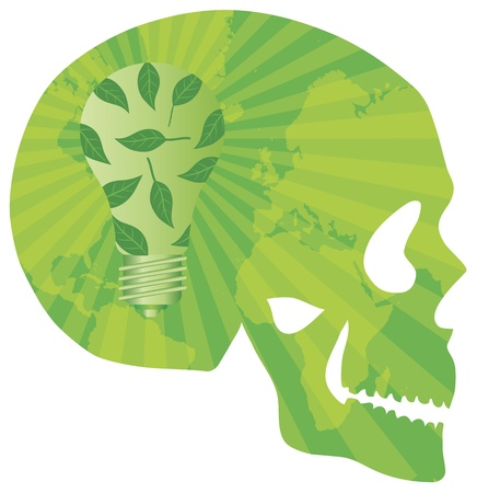 save planet: Think Green Skull with Lightbulb Green Leaves and World Map in Silhouette Illustration