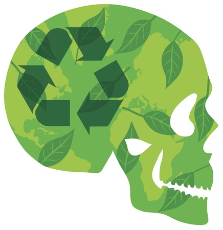 Think Green Skull with Recycle Logo Green Leaves and World Map in Silhouette Illustration Stock Vector - 16104366