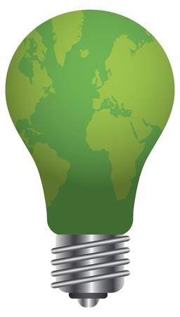 Lightbulb with World Map Go Green Illustration Isolated on White Background Stock Vector - 16104367