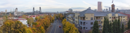 Portland Oregon Skyline and Steel Bridge by Union Station in Autumn Panorama photo