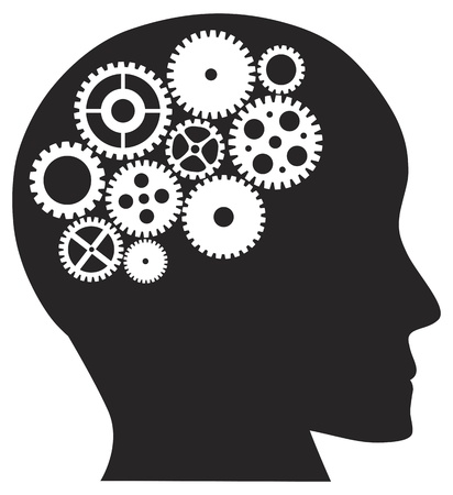 brains: Human Head Silhouette with Metal Mechanical Gears Illustration Isolated on White Background