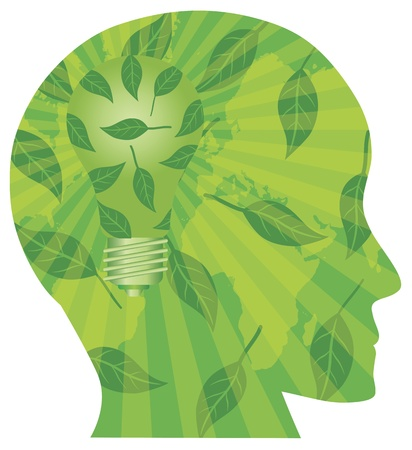 Human Head Silhouette with Light Bulb Go Green Leaves and World Map Illustration Isolated on White Background Çizim
